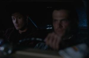 Dean glaring at Sam