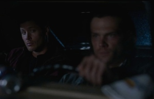 Dean glaring at Sam
