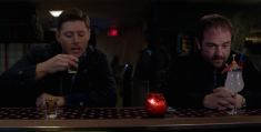Dean and Crowley drinking together again—this time it's fruity drinks.