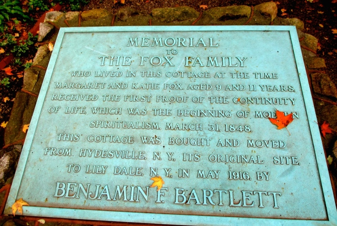 This memorial sits in front of the location in Lily Dale where where the Fox family cottage was moved to, prior to  it's destruction by fire in 1955.