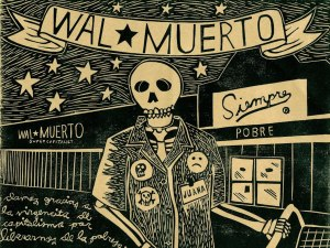 Damos Gracias (Wal-Muerto) by Dylan A.T. Miner. Relief print on recycled grocery bag. 2007