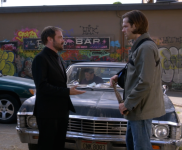 """The First Blade changes hands while Dean glowers from the passenger seat. Supernatural Season 10 Episode 2 """"Reichenbach"""""""