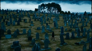 Clara awakens in a cemetery full of cybermen rising from the graves - creepy!