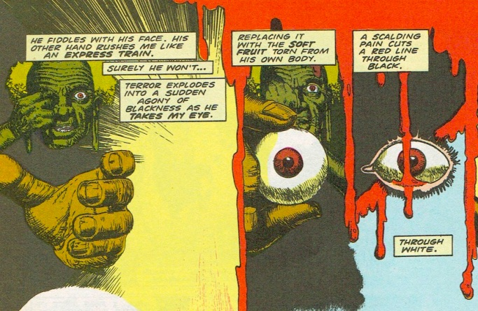 "African mystic eyeball exchange from Hellblazer #1, ""Hunger,"" January 1988. By Jamie Delano & John Ridgway."