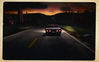 Sam and Dean driving into the sunset—a common scene in fan fiction.