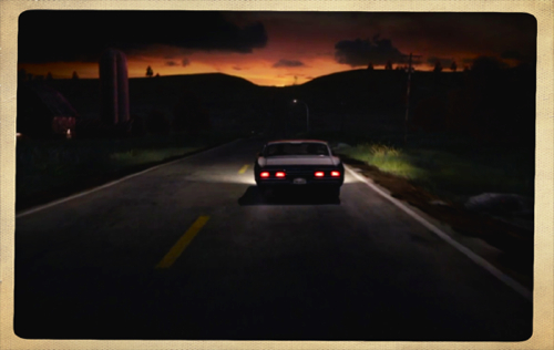 Sam and Dean driving into the sunset - a common scene in fan fiction.