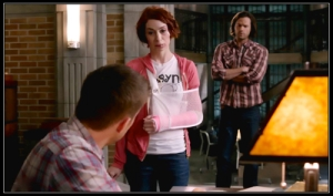 At the Men of Letters Bunker, Charlie Bradbury (Felicia Day) forgives Dean Winchester (Jensen Ackles)