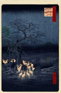 New Year's Eve Foxfires at the Changing Tree, Oji. Ukiyo-e woodblock print by Andō Hiroshige. No. 118 in the series One Hundred Famous Views of Edo, 1857.