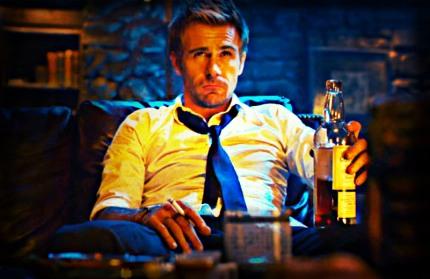 JC drinking and smoking at Jasper's