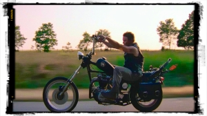 Daryl riding his vintage Triumph chopper