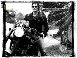 Norman Reedus on his own motorcycle¬–a Triumph Hammarhead Jack Pine.
