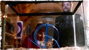 Crowley admires Rowena's handiwork