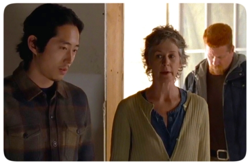 Glenn, Carol, and Abraham come to check on Rick