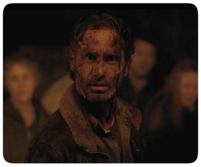Rick arrives at the meeting with a walker