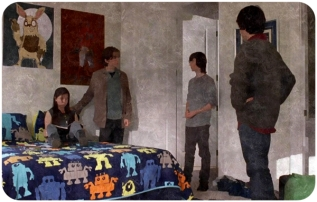 Carl Grimes is introduced to Ron, Mikey, and Enid and is weirded out