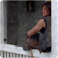 Daryl sulks at the house