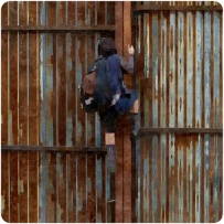 silk Enid climbs over fence