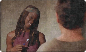 Michonne explores the sensual act of brushing her teeth - and she likes it.