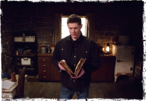 Dean Winchester reads book Supernatural Book of the Damned