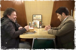 Metatron Castiel at cafe Supernatural Book of the Damned