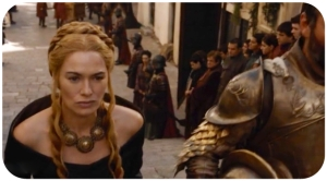 Cersei coming up the stairs Game of Thrones The Wars to Come