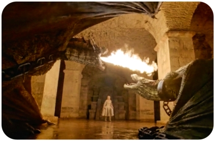 Daenerys gets a firey reception from her dragons