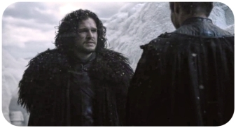 Stannis tells Jon Snow that Mance Rayder must submit or burn