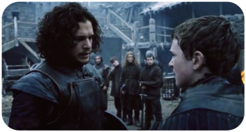 Jon Snow training a young recruit of the Night's Watch