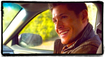 "Dean smiles. Supernatural Season 10 Episode 19 ""The Werther Project"""