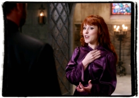 Rowena tells Crowley she is dating Assistant Manager Trent