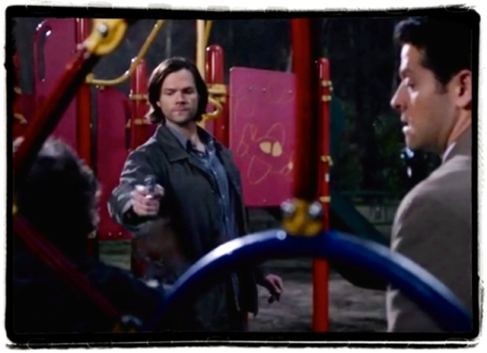Sam shoots Metatron in the leg