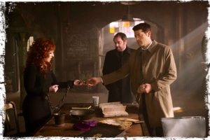 gr Rowena Cas Crowley holding Supernatural Brother's Keeper