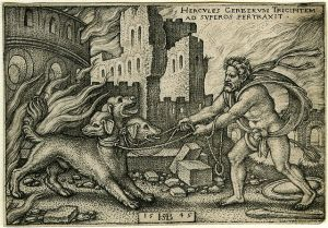 Hercules capturing Cerberus, 1545, by Sebald Beham