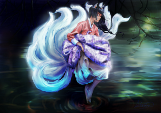 The Kumiho is a Korean nine-tailed fox. Image: Gumiho by canitiem at deviant art.
