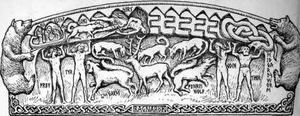 Garmr amonsdt the Norse Gods at Ragnarök. By Collingwood.