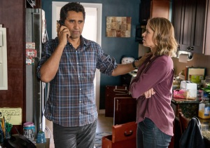 Travis Manaway (Cliff Curtis) and Madison Clark (Kim Dickens) get a call at home. Photo by Justin Lubin/AMC
