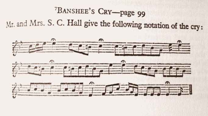 Musical notation of a banshee's cry, from Fairy and Folk Tales of the Irish Peasantry (1888)