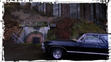 """The Impala parked outside the bunker in Supernatural Season 11 Episode 3 """"The Bad Seed"""""""