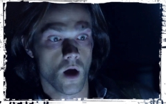 Sam surprized Supernatural Out of the Darkness Into the Fire