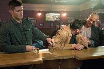 "Supernatural -- ""Beyond The Mat"" -- Image SN1115a_0273.jpg -- Pictured (L-R): Jensen Ackles as Dean, Aleks Paunovic as Gunnar Lawless, and Paul Lazenby as Hellrazor -- Photo: Liane Hentscher/The CW -- © 2016 The CW Network, LLC. All Rights Reserved"