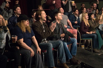 """Supernatural -- """"Beyond The Mat"""" -- Image SN1115b_0262.jpg -- Pictured (L-R): Jared Padalecki as Sam and Jensen Ackles as Dean -- Photo: Liane Hentscher/The CW -- © 2016 The CW Network, LLC. All Rights Reserved."""