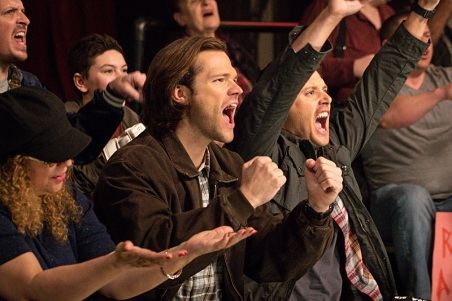 """Supernatural -- """"Beyond The Mat"""" -- Image SN1115b_0232.jpg -- Pictured (L-R): Jared Padalecki as Sam and Jensen Ackles as Dean -- Photo: Liane Hentscher/The CW -- © 2016 The CW Network, LLC. All Rights Reserved."""