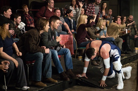 """Supernatural -- """"Beyond The Mat"""" -- Image SN1115b_0236.jpg -- Pictured (L-R): Jared Padalecki as Sam, Jensen Ackles as Dean, and Aleks Paunovic as Gunnar Lawless -- Photo: Liane Hentscher/The CW -- © 2016 The CW Network, LLC. All Rights Reserved."""