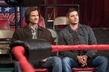 "Supernatural -- ""Beyond The Mat"" -- Image SN1115b_0031.jpg -- Pictured (L-R): Jared Padalecki as Sam and Jensen Ackles as Dean -- Photo: Liane Hentscher/The CW -- © 2016 The CW Network, LLC. All Rights Reserved."