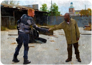 Morgan shakes hands The Walking Dead The Last Day on Earth