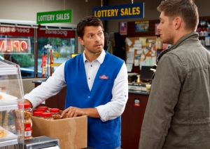Castiel working at store Lottery sales Supernatural Heaven Can Wait
