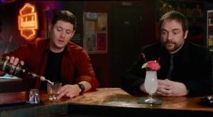 Crowley Dean pours drink Inside Man Supernatural