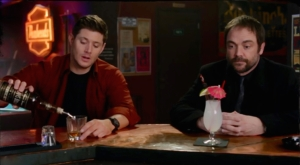Crowley Dean pours drink Inside Man Supernatural