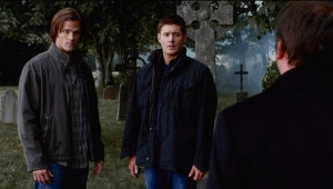 Sam and Dean at Scottish cemetery Supernatural Weekend at Bobbys
