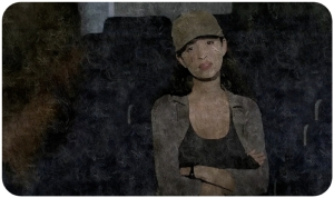 rosita-death-glare-the-walking-dead-rock-in-the-road